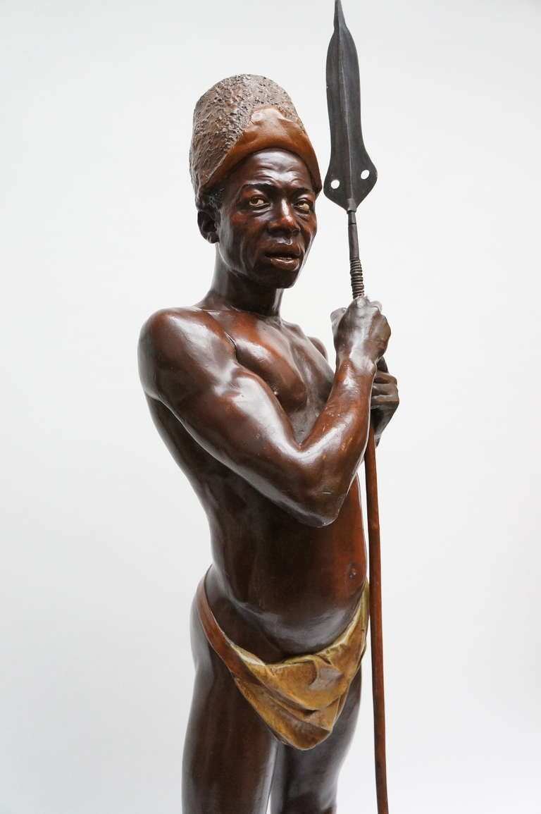 Art Deco Goldscheider statue of an African warrior. This statue inspired the artist (painter) Luc Tuymans to create his famous work (painting) ; Sculpture in 2000. Sold in 2005 by Christie's for 1,472,000 USD. One of the many record-breaking