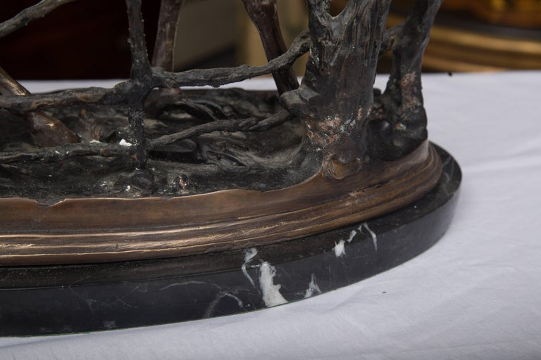 Statue of a Patinated Bronze Model of a Horse on Marble Base In Good Condition For Sale In WEST PALM BEACH, FL