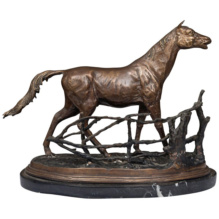 Statue of a Patinated Bronze Model of a Horse on Marble Base For Sale