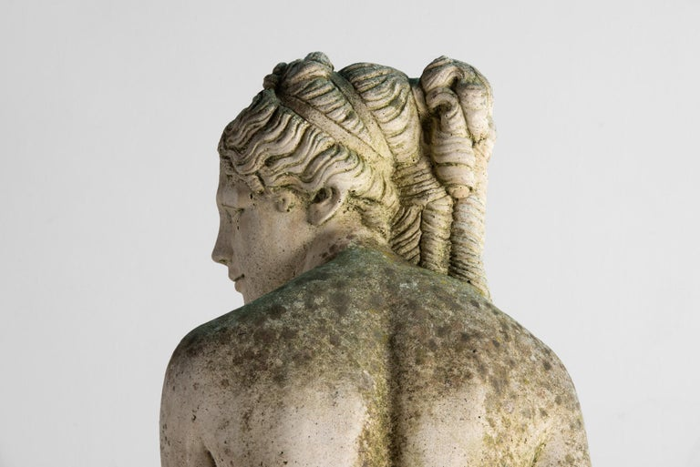 Cast Stone Statue of Venus Bathing, England, circa 1950 For Sale