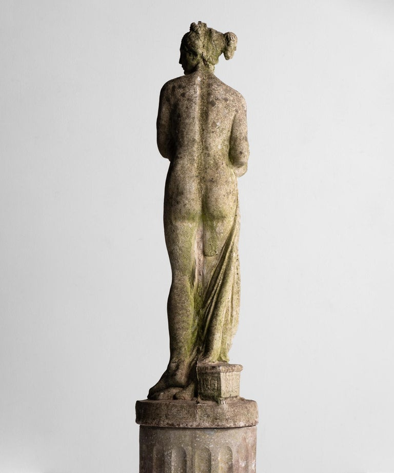 British Statue of Venus with Pedestal, England, circa 1950 For Sale