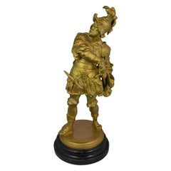 Statue Spanish Soilder with Wood Base Signed