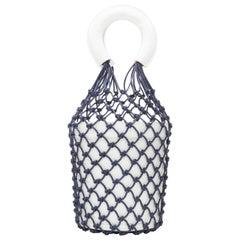 STAUD Moreau Net navy fishnet white leather bucket bag