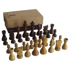 Staunton 3.5 Hardwood Weighted Chess Set Original Box 3.5inch Kings, Ca 1950