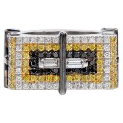 Staurino Fratelli Fancy Yellow Diamond 18K Gold Rectangle Cocktail Ring