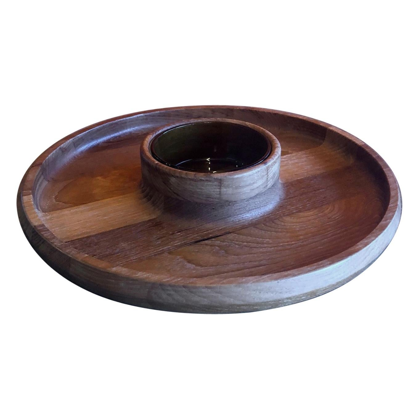 Staved Teak Chip and Dip Tray by Jens Quistgaard for Dansk
