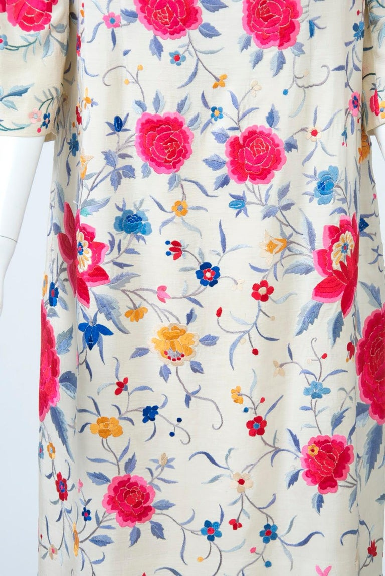 Stavropoulos Embroidered Shawl Dress In Good Condition For Sale In Alford, MA