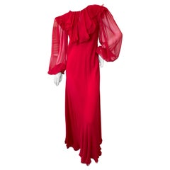 Stavropoulos Vintage 1970's Red Sheer Silk Chiffon Dress with Bishop Sleeves