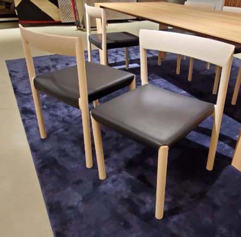 Italian Stax Wood Base Dining Chair, Set of 6, by Niels Bendtsen from Bensen For Sale