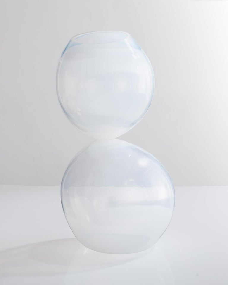 Unique stacked globe vessel in translucent hand blown glass. Designed and made by Jeff Zimmerman, USA, 2012.