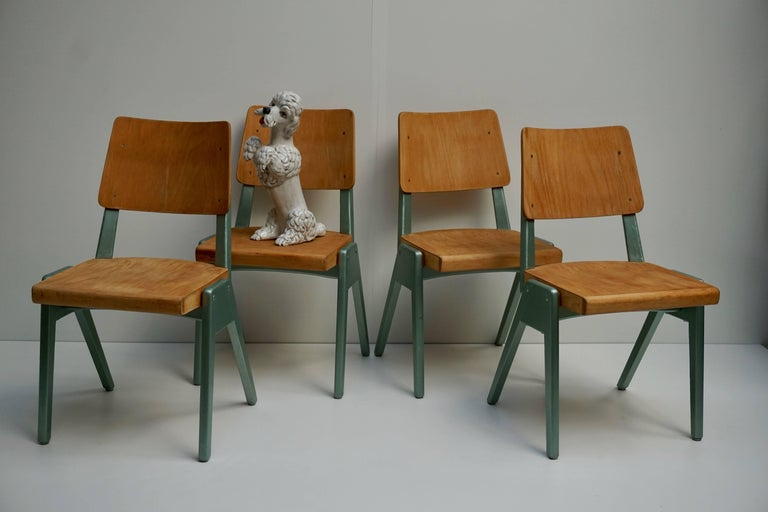 Ste of Four Plywood Dining Chairs For Sale 3