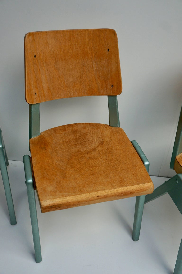 Ste of Four Plywood Dining Chairs For Sale 8