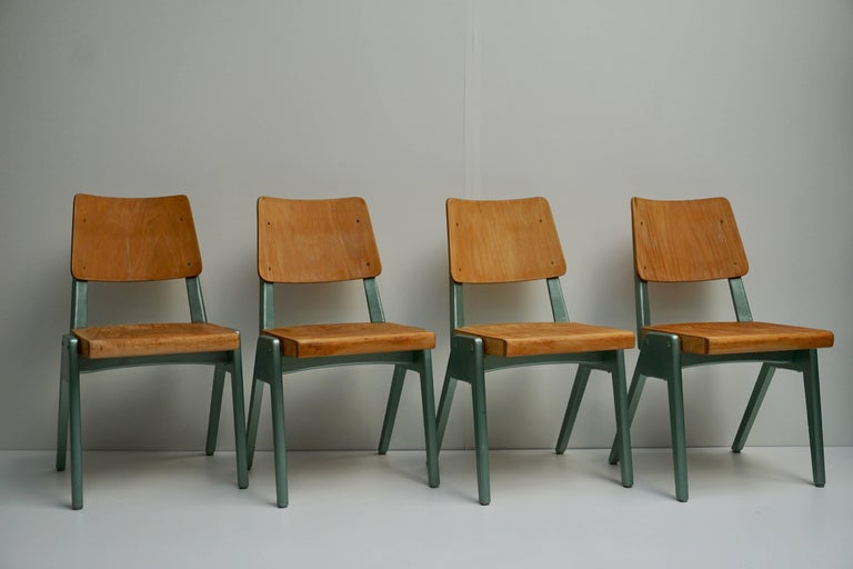 Set of four dining chairs,1950s. Measures: Height seat 42 cm.