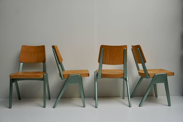 Belgian Ste of Four Plywood Dining Chairs For Sale
