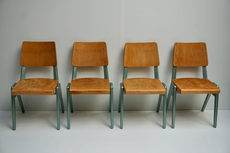 20th Century Ste of Four Plywood Dining Chairs For Sale