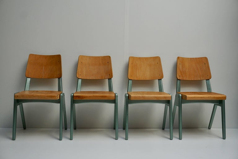 Wood Ste of Four Plywood Dining Chairs For Sale