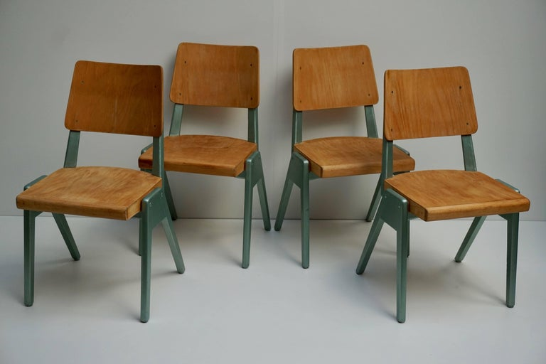 Ste of Four Plywood Dining Chairs For Sale 2