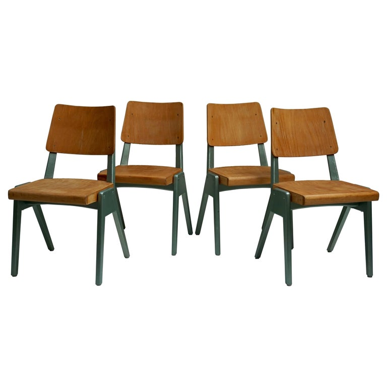 Ste of Four Plywood Dining Chairs For Sale