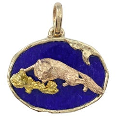 """""""Stealthy Fox"""" Fob or Pendant in Oval Lapis Bezel Setting of Rose & Yellow Gold"""