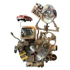 Steam Punk Clock Sculpture Signed Richard Birkett, Dated 2008