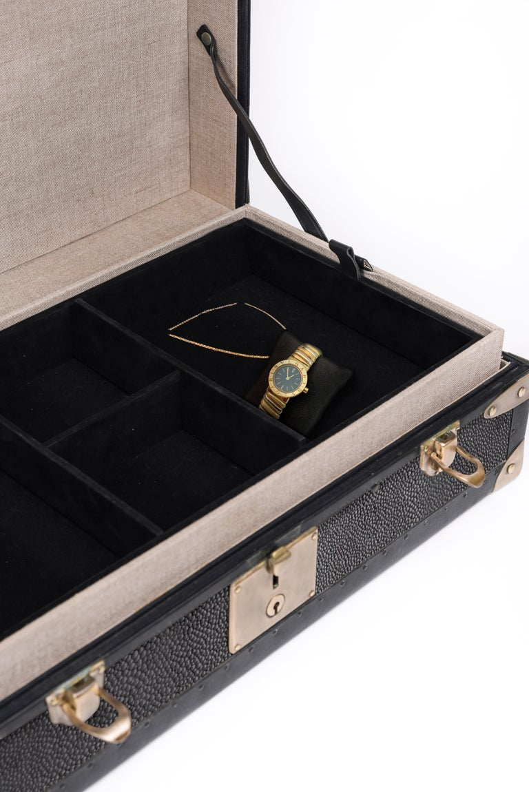 French Traveling Jewelry Case in Black Shagreen Brass w/Leather Handles by R&Y Augousti For Sale