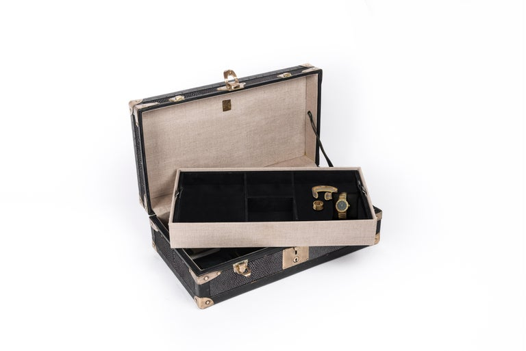 Hand-Crafted Traveling Jewelry Case in Black Shagreen Brass w/Leather Handles by R&Y Augousti For Sale