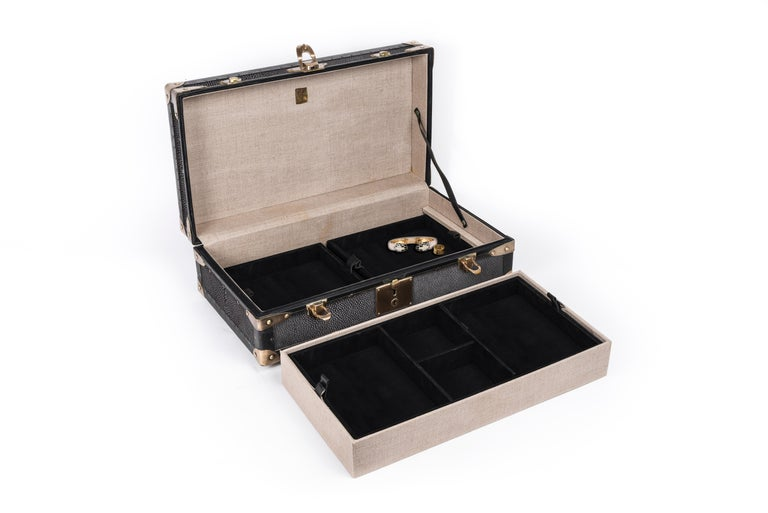 Traveling Jewelry Case in Black Shagreen Brass w/Leather Handles by R&Y Augousti In New Condition For Sale In New York, NY