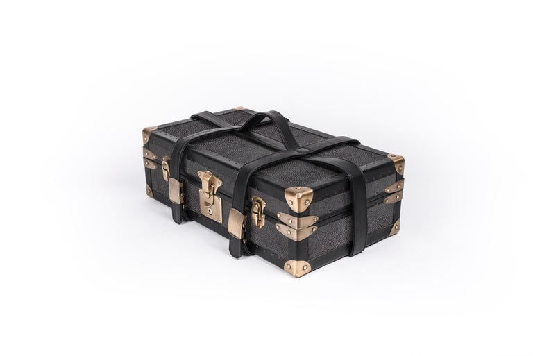 Art Deco Traveling Jewelry Case in Black Shagreen Brass w/Leather Handles by R&Y Augousti For Sale