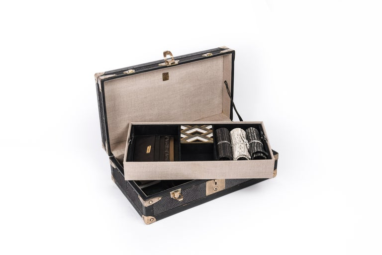 French Steamer Trunk in Black Shagreen and Brass with Leather Handles by R&Y Augousti For Sale