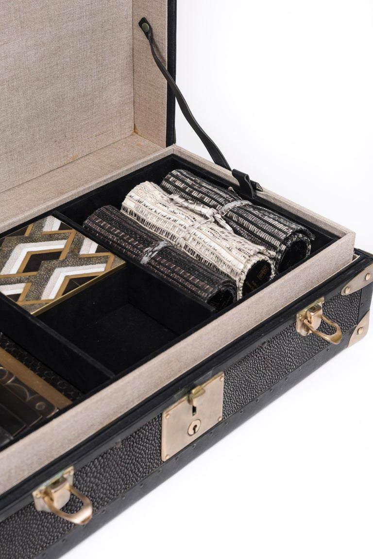 Steamer Trunk in Black Shagreen and Brass with Leather Handles by R&Y Augousti In New Condition For Sale In New York, NY