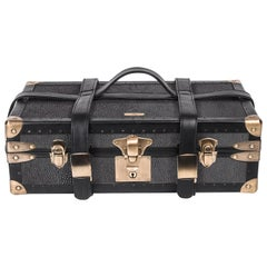 Traveling Jewelry Case in Black Shagreen Brass w/Leather Handles by R&Y Augousti