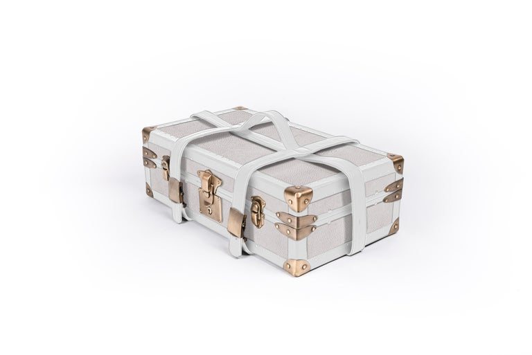 Art Deco Steamer Trunk in Cream Shagreen & Brass W/Leather Handles by R&Y Augousti For Sale