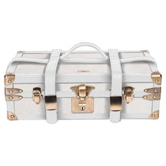 Steamer Trunk in Cream Shagreen & Brass W/Leather Handles by R&Y Augousti