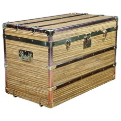 Steamer Trunk, Zebrano Wood, Copper and Solid Brass
