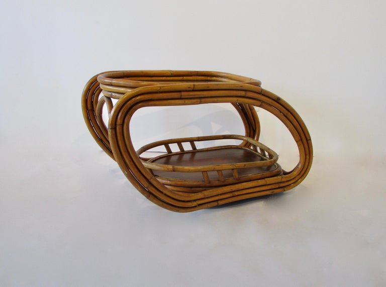 Steamlined Moderne Art Deco Muti Band Bamboo Drinks Serving Cart In Good Condition For Sale In Ferndale, MI