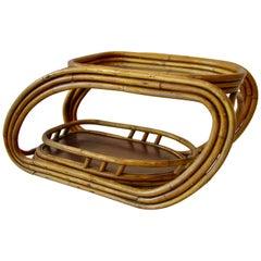 Steamlined Moderne Art Deco Muti Band Bamboo Drinks Serving Cart