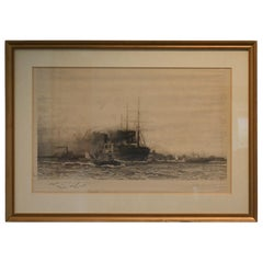 Steamship and Tugboats in New York Harbour, Signed Etching by Charles Dixon 1892