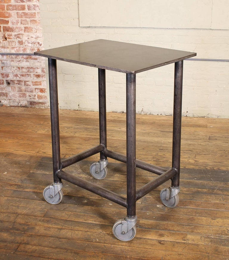 Industrial Rolling Bar Cart Steel and Iron Printer's Turtle Table  In Distressed Condition For Sale In Oakville, CT