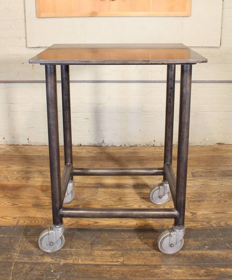 20th Century Industrial Rolling Bar Cart Steel and Iron Printer's Turtle Table  For Sale