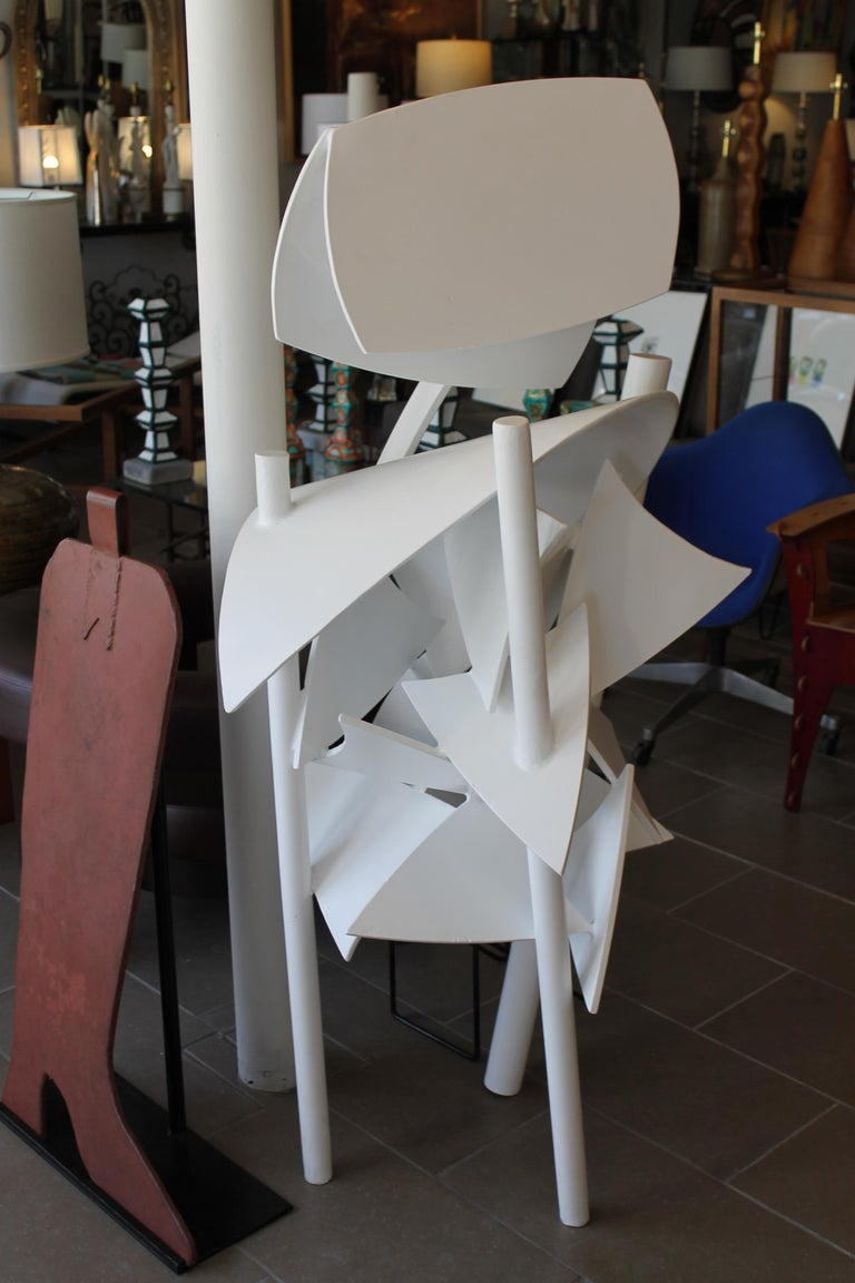 Steel Brutalist sculpture which we had sand blasted and powder coated a white satin. Artist initials and dated 1979.  An impressive sculpture for inside or out.