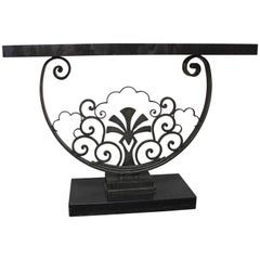 Steel and Black Granite Console