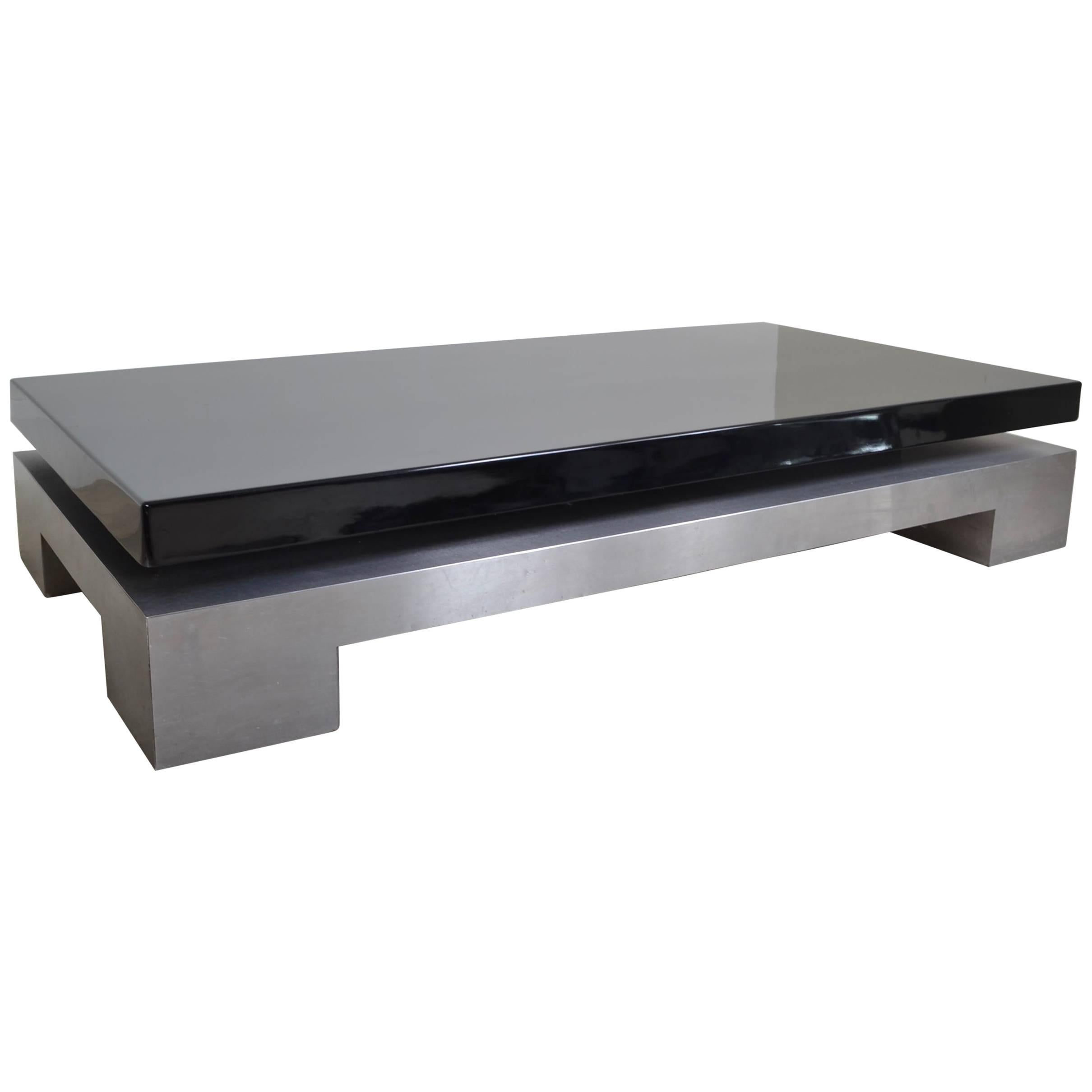 Steel And Black Lacquer Coffee Table, Italy, 1970