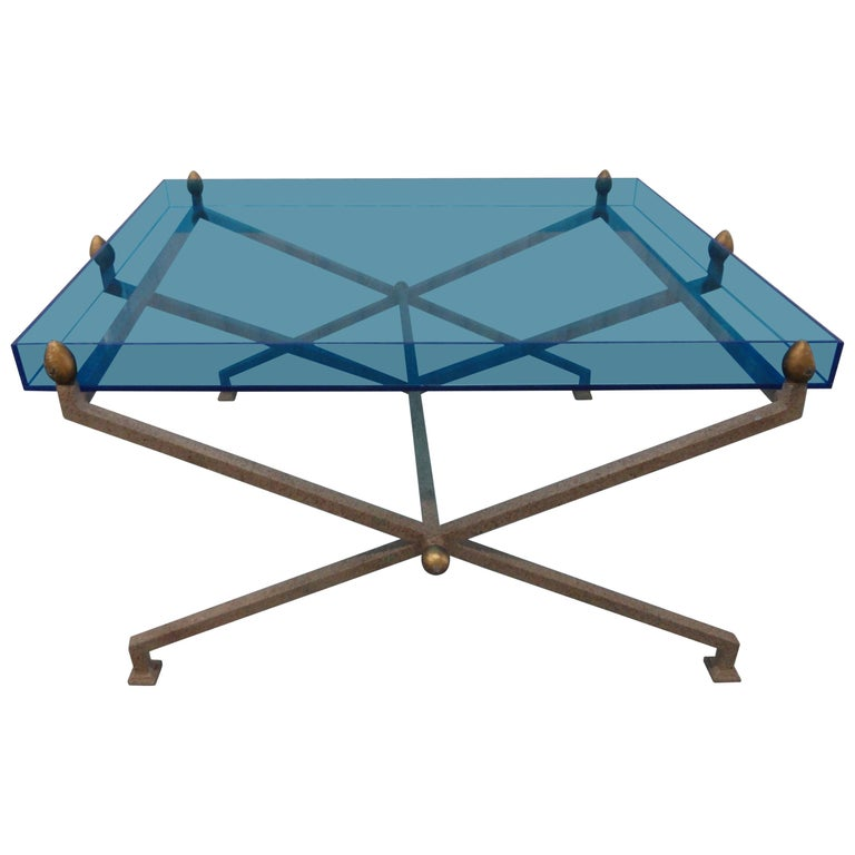 Steel And Blue Perspex Coffee Table For