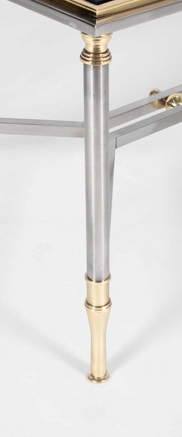 Modern Steel and Brass Coffee Table in the Manner of Maison Jansen For Sale