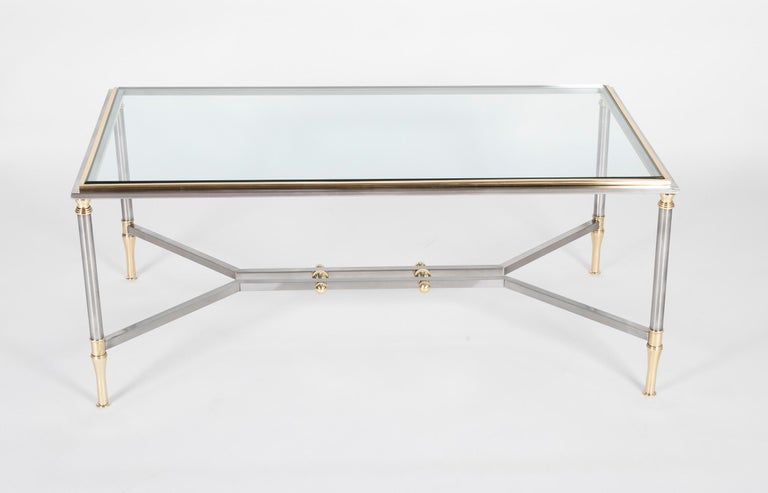 French Steel and Brass Coffee Table in the Manner of Maison Jansen For Sale