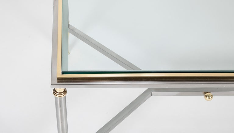 Steel and Brass Coffee Table in the Manner of Maison Jansen For Sale 1