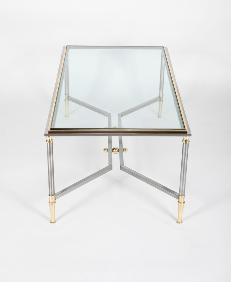 Steel and Brass Coffee Table in the Manner of Maison Jansen For Sale 2