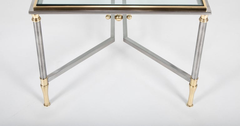 Steel and Brass Coffee Table in the Manner of Maison Jansen For Sale 3