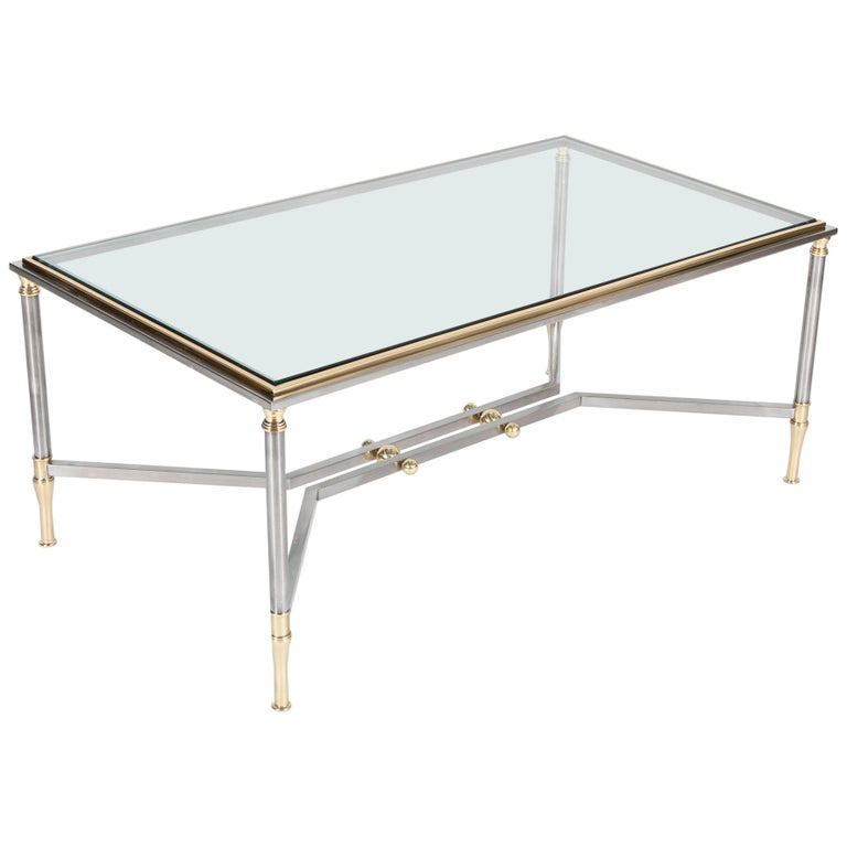 Steel and Brass Coffee Table in the Manner of Maison Jansen For Sale