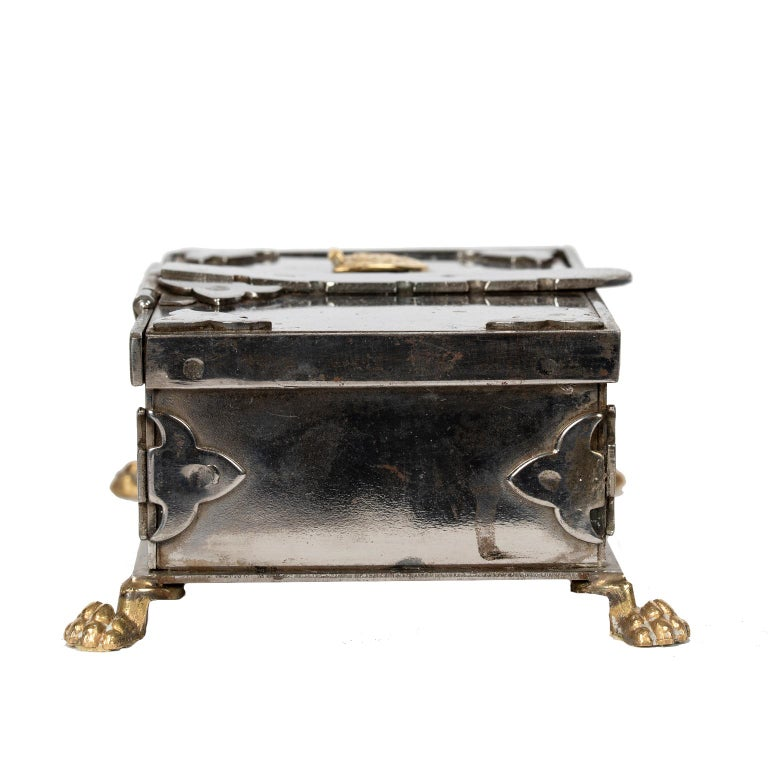 Renaissance Steel and Brass Document Box, Italy, circa 1970 For Sale